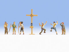 H0-Bergwanderer mit Gipfelkreuz